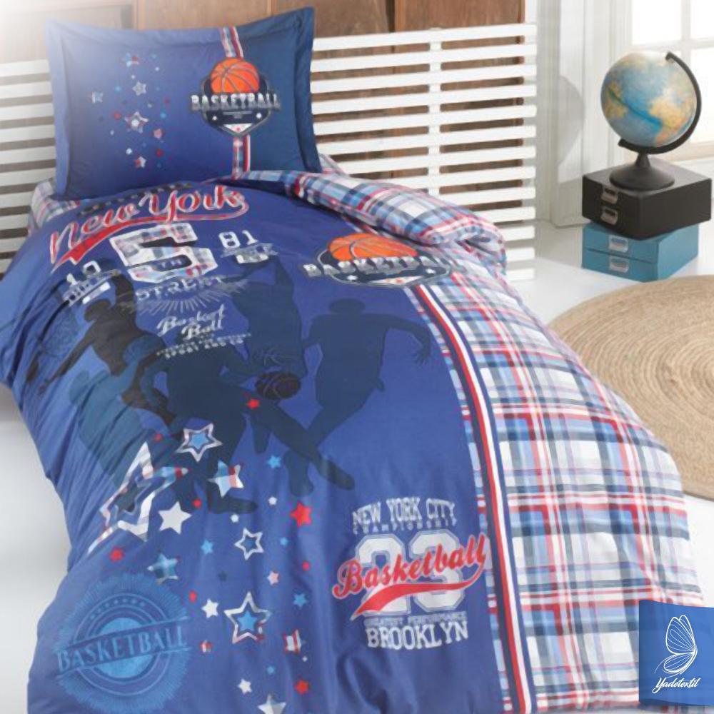 kinderbettw sche basketball v1 135x200 cm 80x80 cm kissenbezug linon ebay. Black Bedroom Furniture Sets. Home Design Ideas