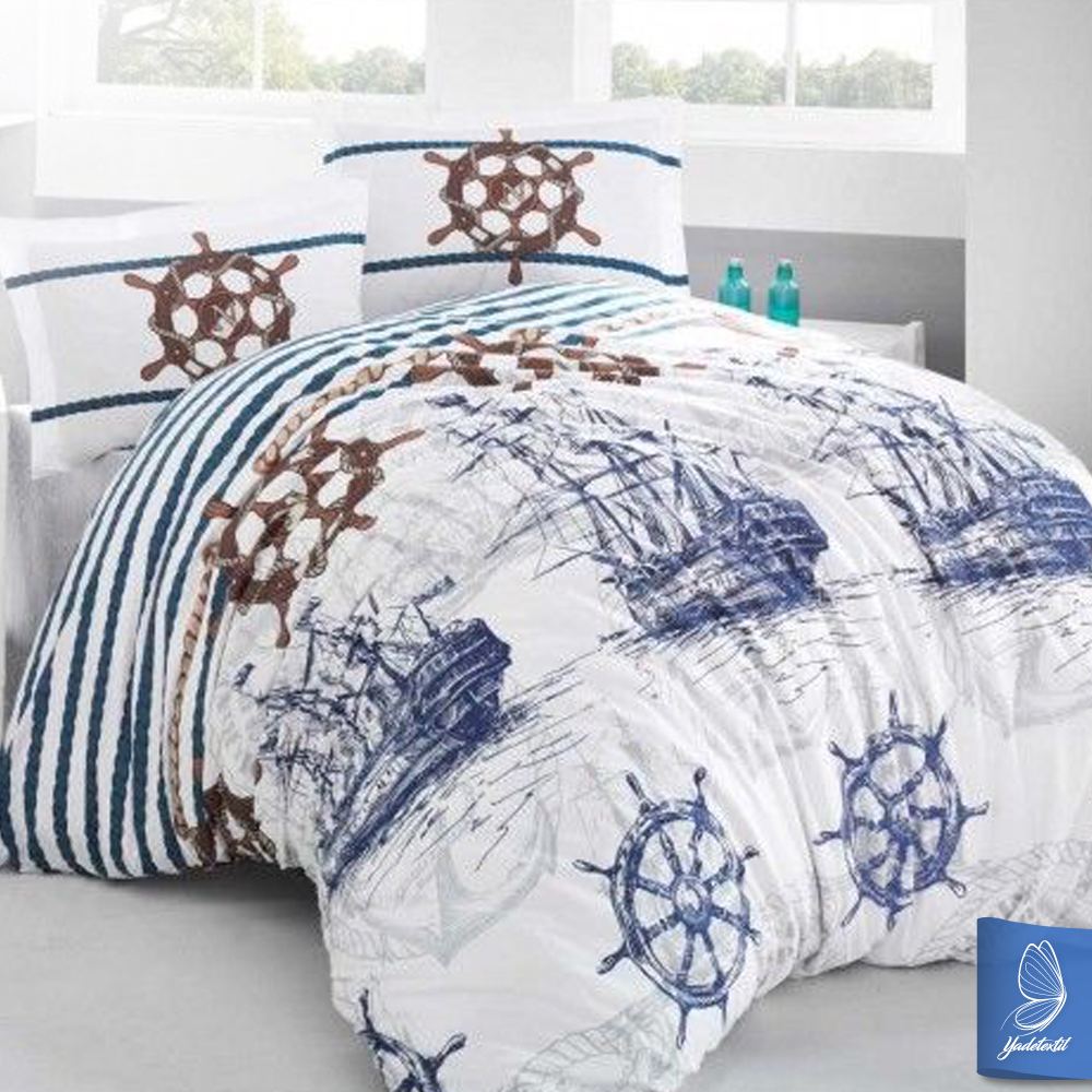 bettw sche 200x220 cm 2 x kissenbezug 80x80cm marine 5tlg set ebay. Black Bedroom Furniture Sets. Home Design Ideas