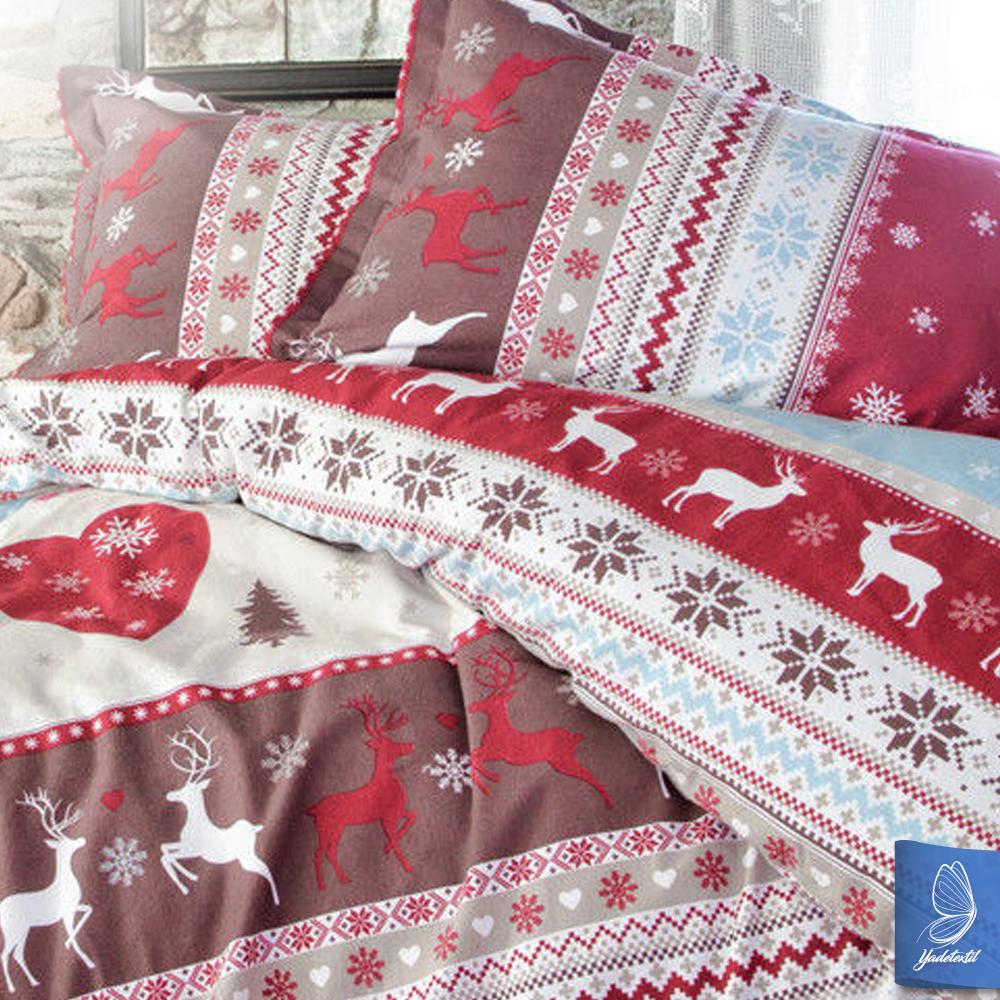 flanell winter bettw sche 155x220 cm santa 3tlg ebay. Black Bedroom Furniture Sets. Home Design Ideas